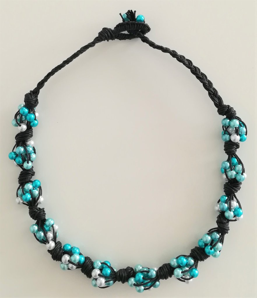 Collana Corda e Perline - Nodi Blu