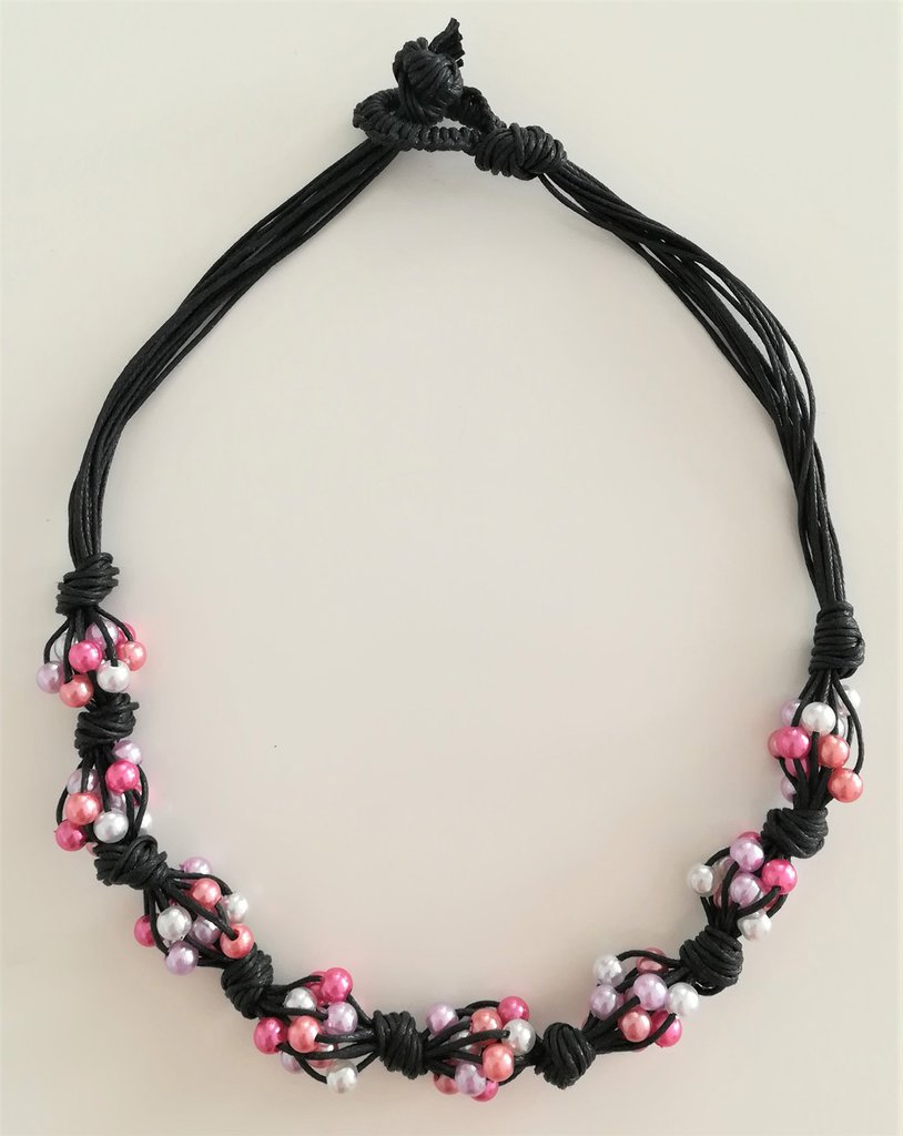 Collana Corda e Perline - Nodi rosa