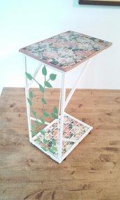 Tavolino da caffè tavolino da salotto ferro e legno shabby chic country Rose romantico vintage classico dipinto a mano