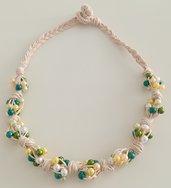 Collana Corda e Perline - Nodi Verde