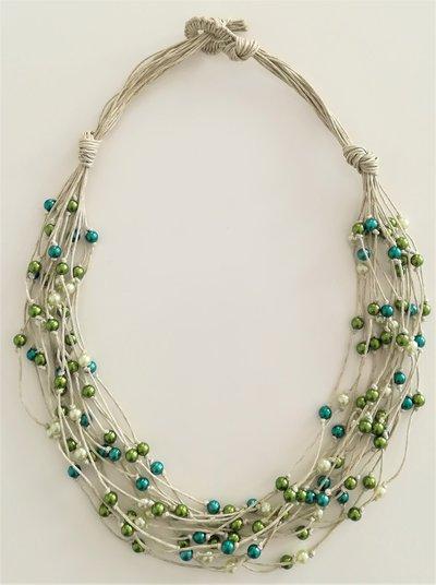 Collana Corda e Perline - Centoperle Verde