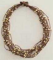 Collana Corda e Perline - Centoperle Marrone