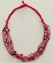Collana Corda e Perline - Centoperle Rosso