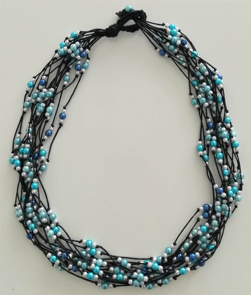 Collana Corda e Perline - Centoperle Azzurro