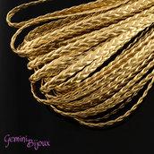 Lotto 1 metro corda intrecciata imitazione pelle, metallic gold