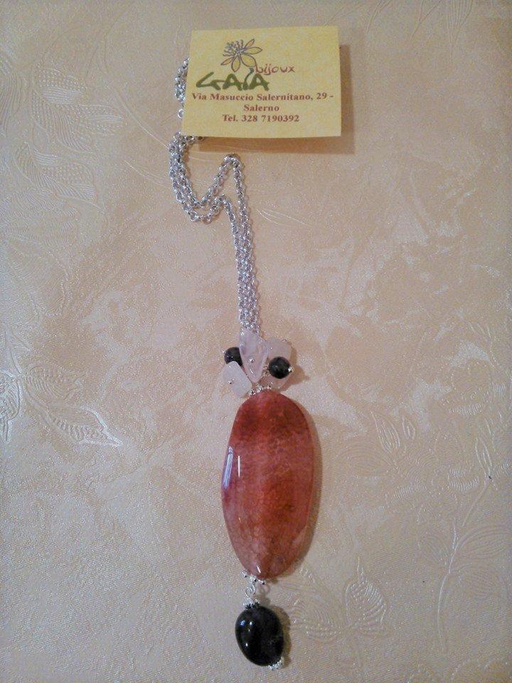 Collana catena con ciondolo in agata rosa ed ametista