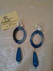 Orecchini con ovale in agata blu e goccia in giada blu