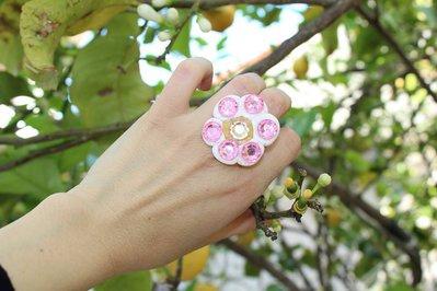 anello fiore in fimo con swarosvki in  plastica