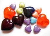 Lotto di 14 perle a cuore acriliche