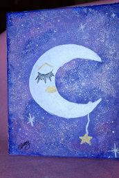 """quadro dipinto """"luna che dorme"""""""