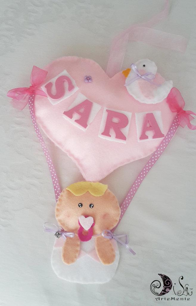 Fiocco nascita mongolfiera cuore bebè con uccellino e nome personalizzato per bimba