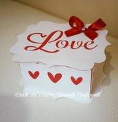 Scatola bomboniera(0,80pz)sacchetto portaconfetti Matrimonio Sposi modello LOVE