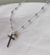 Bracciale rosario con Croce in Argento 925