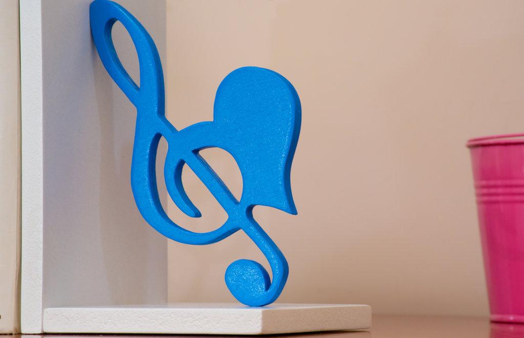 Fermalibri in legno Musica, fatti a mano, con base bianca in mdf e sagome in multistrato azzurre