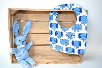 Bavaglino con elefantini azzurri