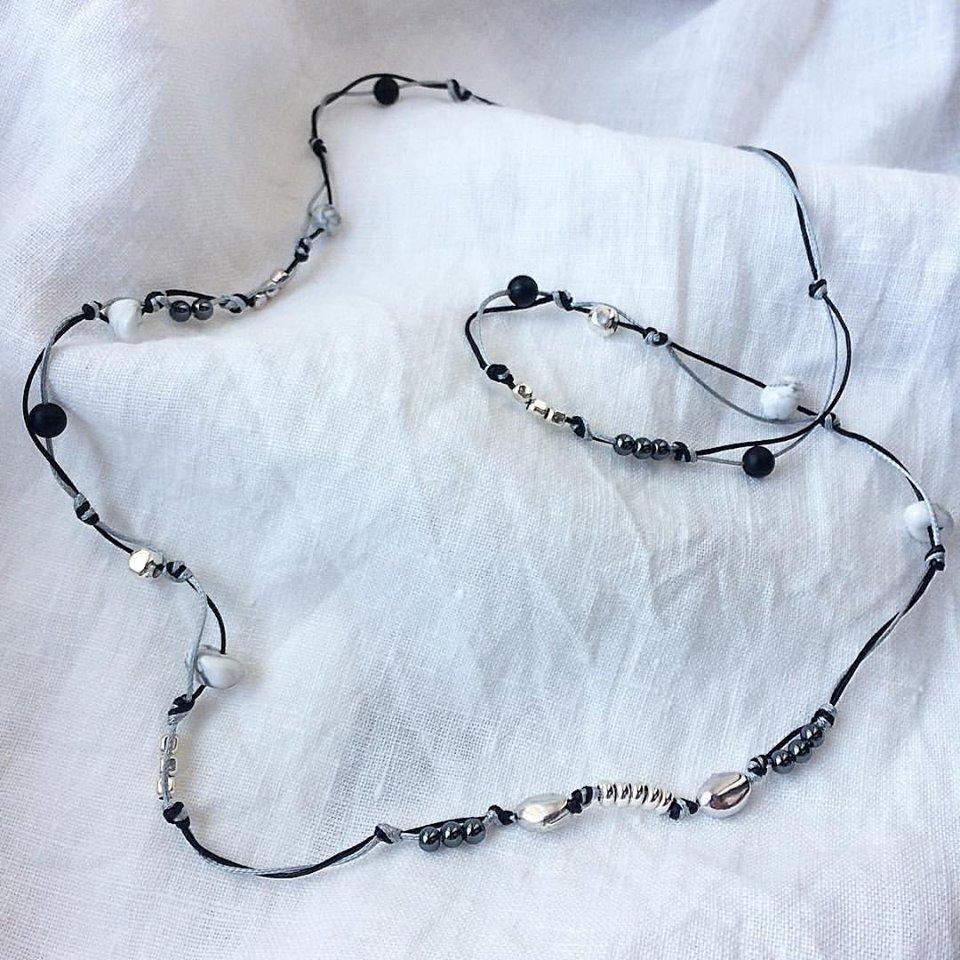 Collana unisex filo intrecciato, pietre e Argento