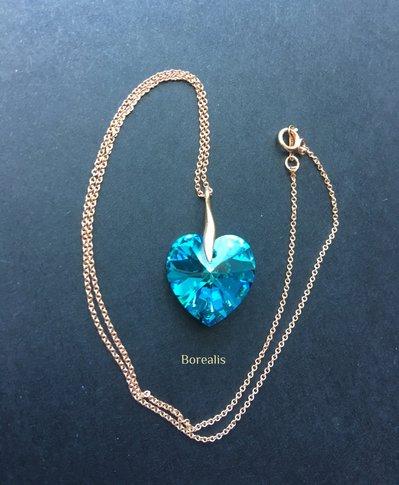 Girocollo Cuore Cristallo Swarovski Blu Bermuda Rose Gold Filled e Argento 925