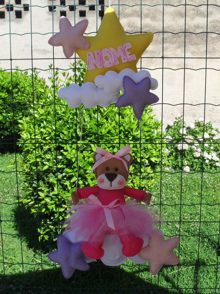 Fiocco nascita...un'orsetta ballerina in altalena