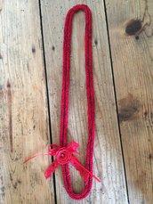 Collana in cotone shabby sfumata rossa