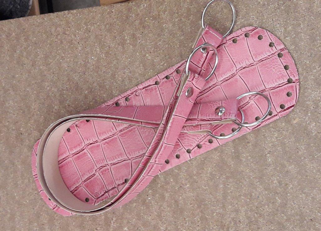 Set borsa pitonato rosa