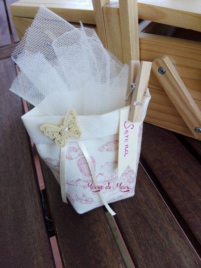 Bomboniera sacchetto nascita, portaconfetti, pochette,confettata