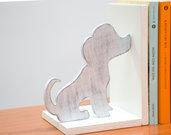 """Fermalibri in legno """"Cani e Gatti"""", fatti a mano, con base bianca in mdf e sagome in legno multistrato Bianco/Grigio lavorate in stile shabby"""