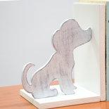 Fermalibri in legno Cani e Gatti, fatti a mano, con base bianca in mdf e sagome in legno multistrato Bianco/Grigio lavorate in stile shabby