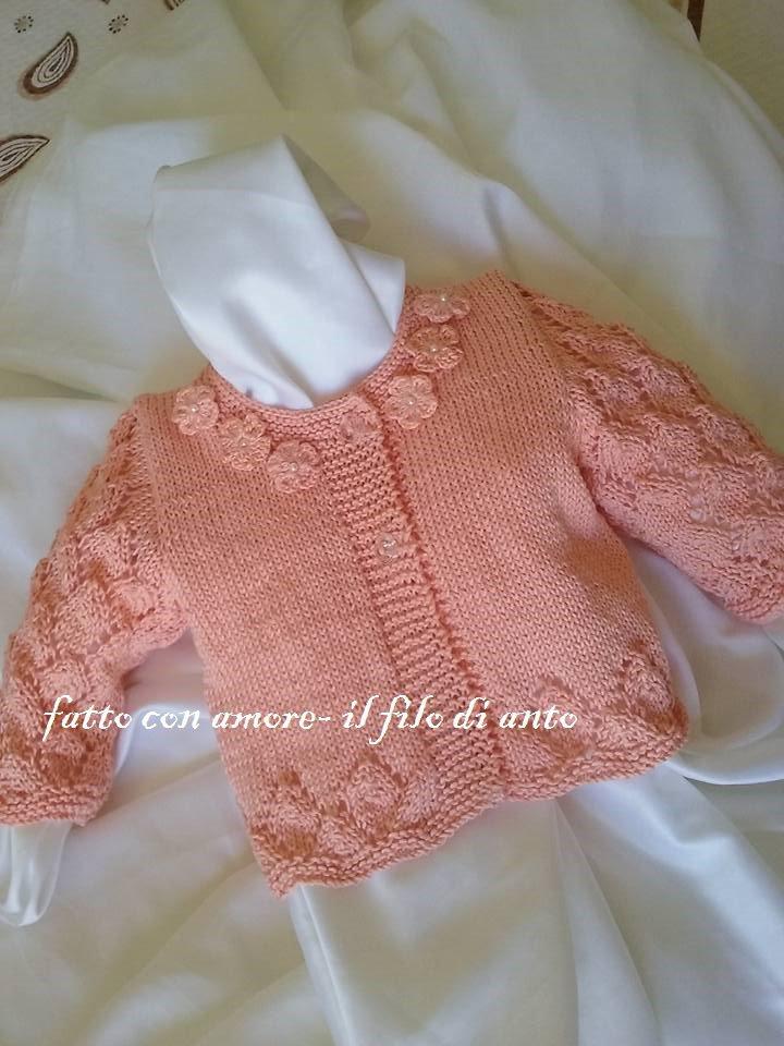 Giacchino /golfino / maglia / cardigan bambina lavorato a maglia
