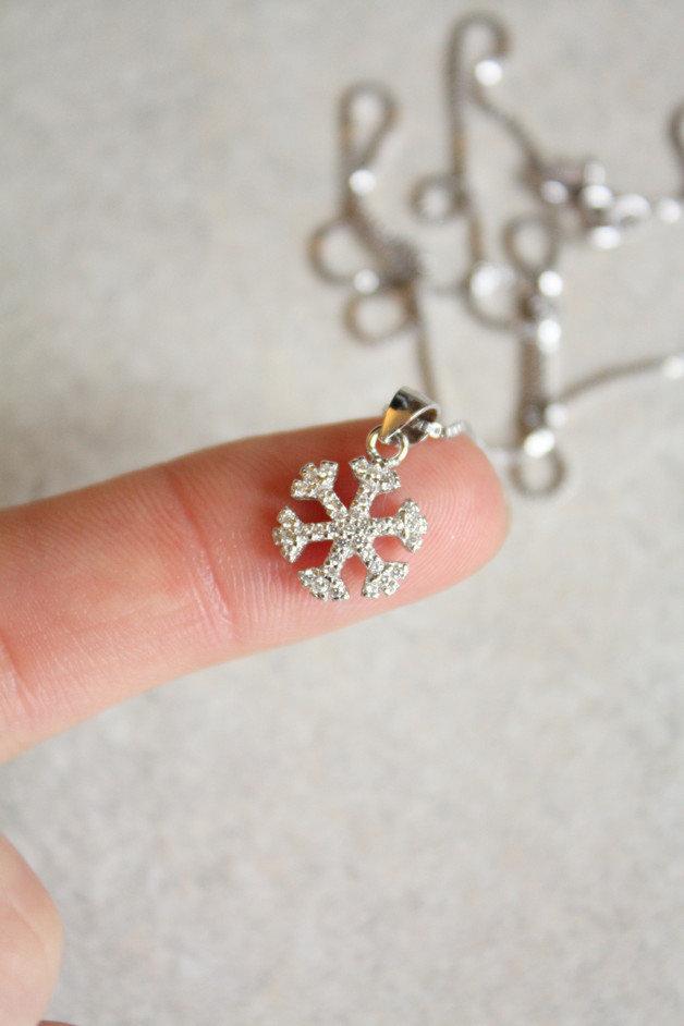 Collana a fiocco di neve d'argento 925 con zirconi