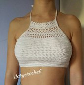Crop top bianco all'uncinetto