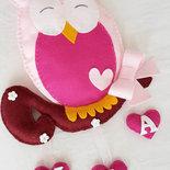 Fiocco nascita gufo rosa su ramo con cascata di cuori, fiocco nascita decorazione cameretta portafortuna per bimba