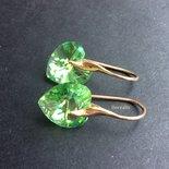Orecchini Cuori Cristallo Swarovski Verde Peridoto Argento 925 Placcato Oro Rosa