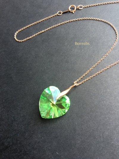 Girocollo Cuore Cristallo Swarovski Verde Peridoto Rose Gold Filled e Argento 925