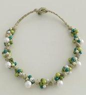 Collana Corda e Perline - Nodi Bianco Verde