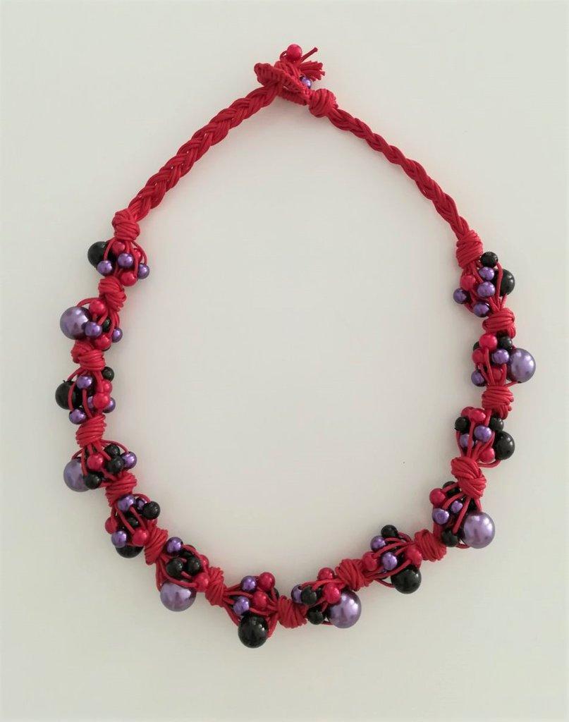 Collana Corda e Perline - Nodi Rosso Viola