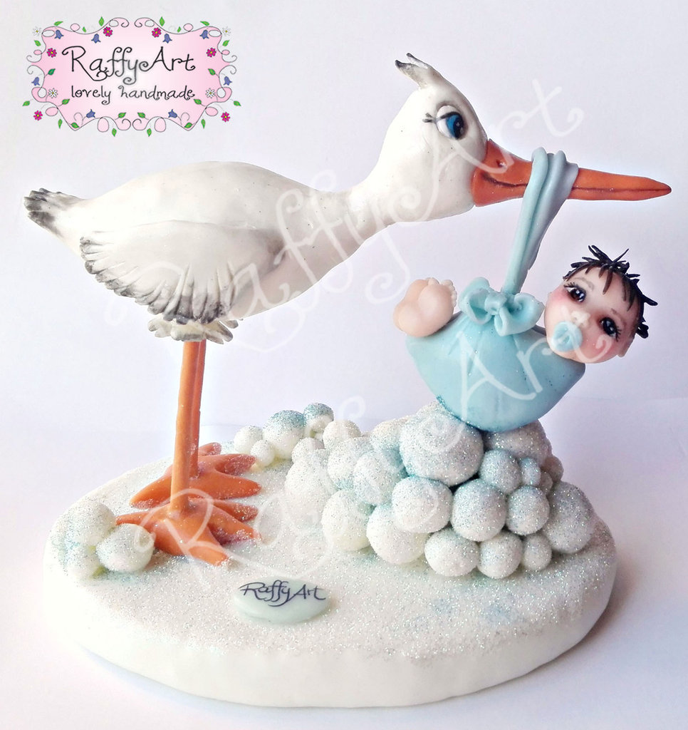 """Cake topper """"Cicogna in arrivo!"""" (personalizzabile)"""