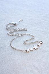 Collana d'argento con  stelle pendenti