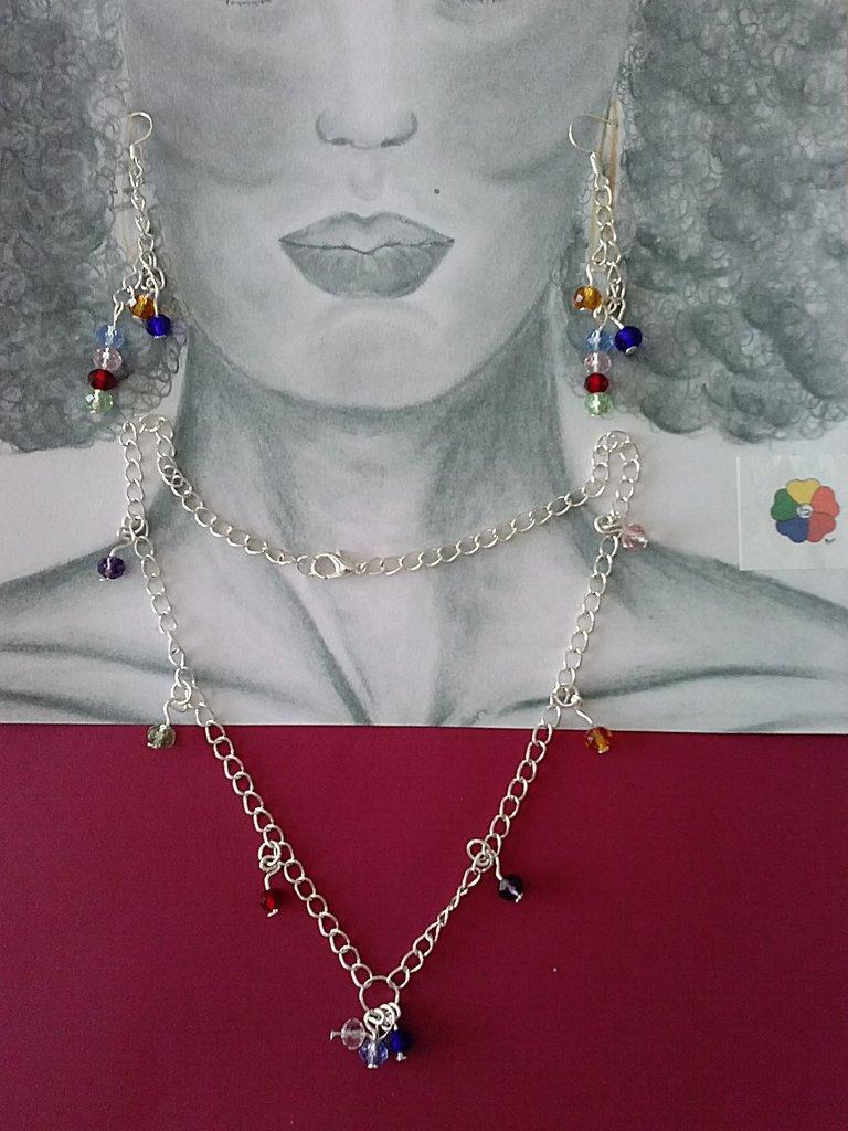Collana e orecchini con pietre Arcobaleno