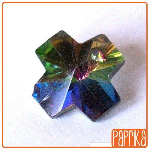 2 pendenti di cristallo - croce iridescente