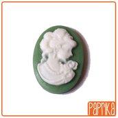 2 Camei resina verde 13x18mm