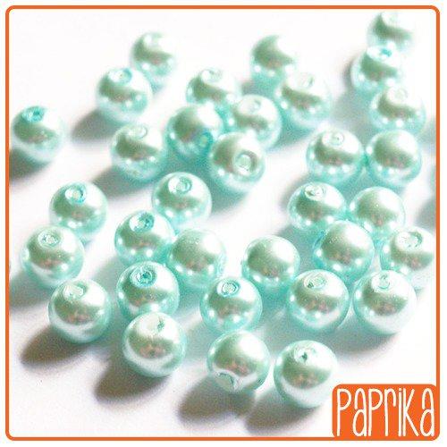 10 Perle di Vetro Cerato celeste 8mm