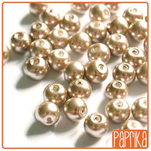 10 Perle di Vetro Cerato bronzo chiaro 8mm