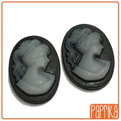 2 Camei resina nero silhouette donna 13x18mm