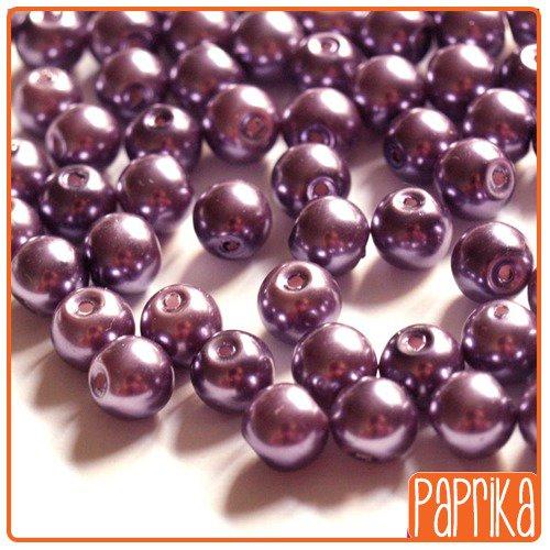 10 Perle di Vetro Cerato Viola 8mm