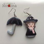 Orecchini C'era una volta ... Mary Poppins e Ombrello in cartapesta sagomati