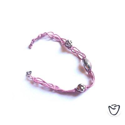 Bracciale shamballa rosa con pietre in metallo