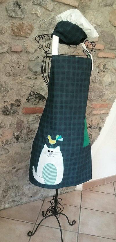 Grembiule da cucina scozzese con cappello da cuoco
