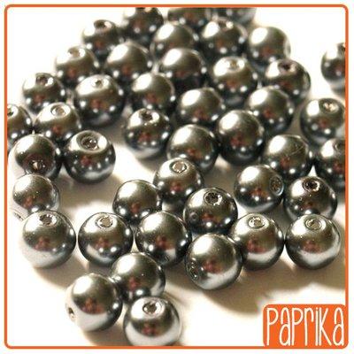 10 Perle di Vetro Cerato Grigio Ematite 8mm