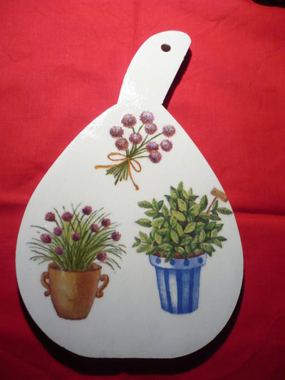 tagliere bianco piante