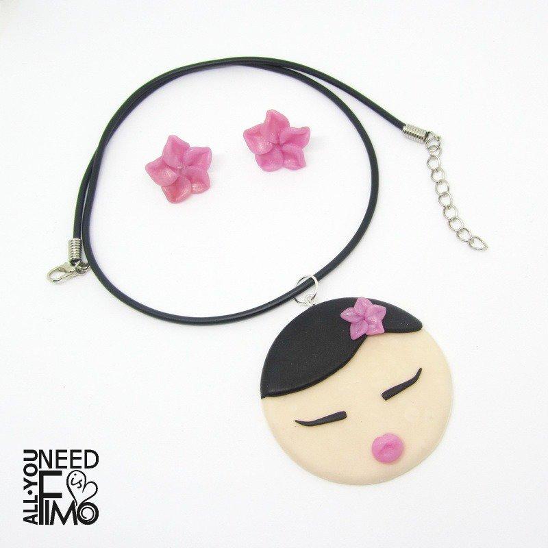 Ciondolo giapponese|orecchini fiori ciliegio|ciondolo kokeshi|collana giapponese|gioielli fimo|orecchini sakura|gioielli primavera